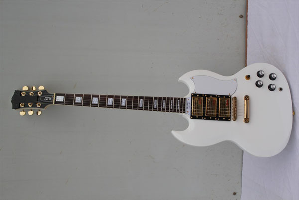 Alpin white color ,3 pickups SG style electric guitar,most popular music instrument guitarra(China (Mainland))