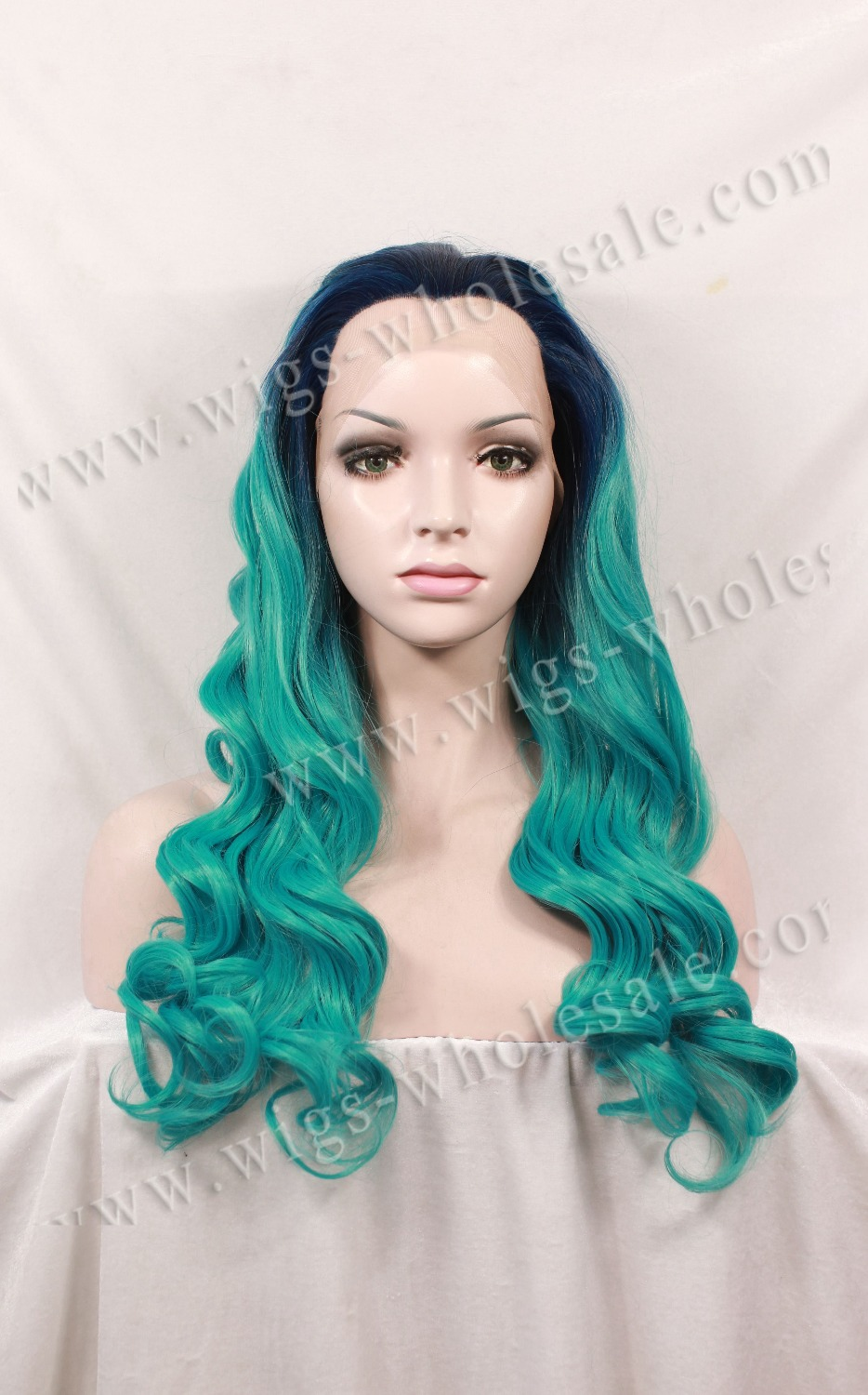 Heat Resistant Long Body Wavy Ombre Turquoise Color Synthetic Cosplay Lace  Front Wig Free Shipping <br><br>Aliexpress