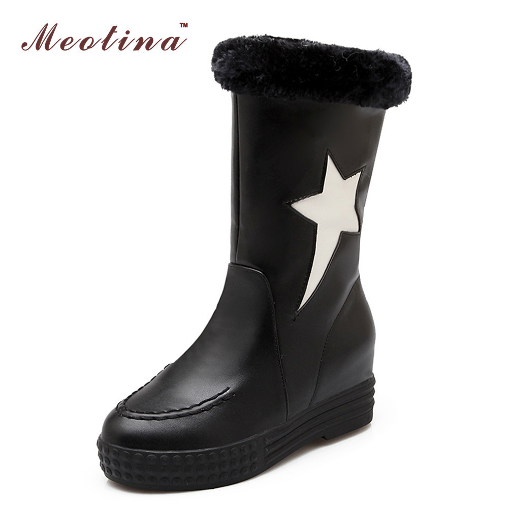 Winter Women Snow Boots Fur Shoes Ladies Mid Calf Boots Round Toe Wedge Heels Boots White Pink Black Small Size 34-39 от Aliexpress INT