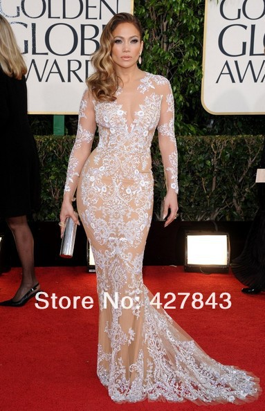 1-70th Golden Globe Red Carpet Jennifer Lopez Slecet Zuhair Murad Long Sleeve Lace Celebrity Evening Dress Nude Color