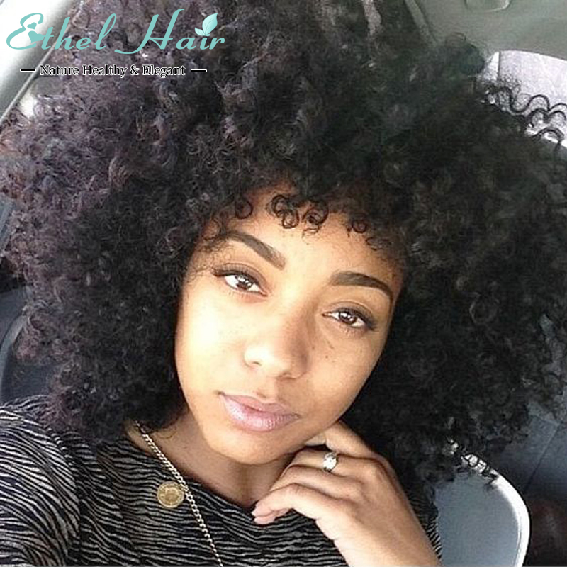 Фотография 130 Density Glueless Curly Full Lace Human Hair Wigs Brazilian Lace Front Wigsafro kinky curly With Baby Hair wigs