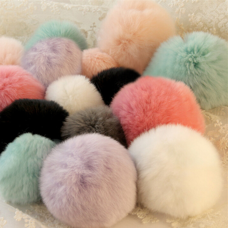 9 Colors New 7cm Luxury Soft Warm Genuine Real REX Rabbit Fluffy Fur Ball Mobile Phone Charm Cute Cellphone Accessory(China (Mainland))