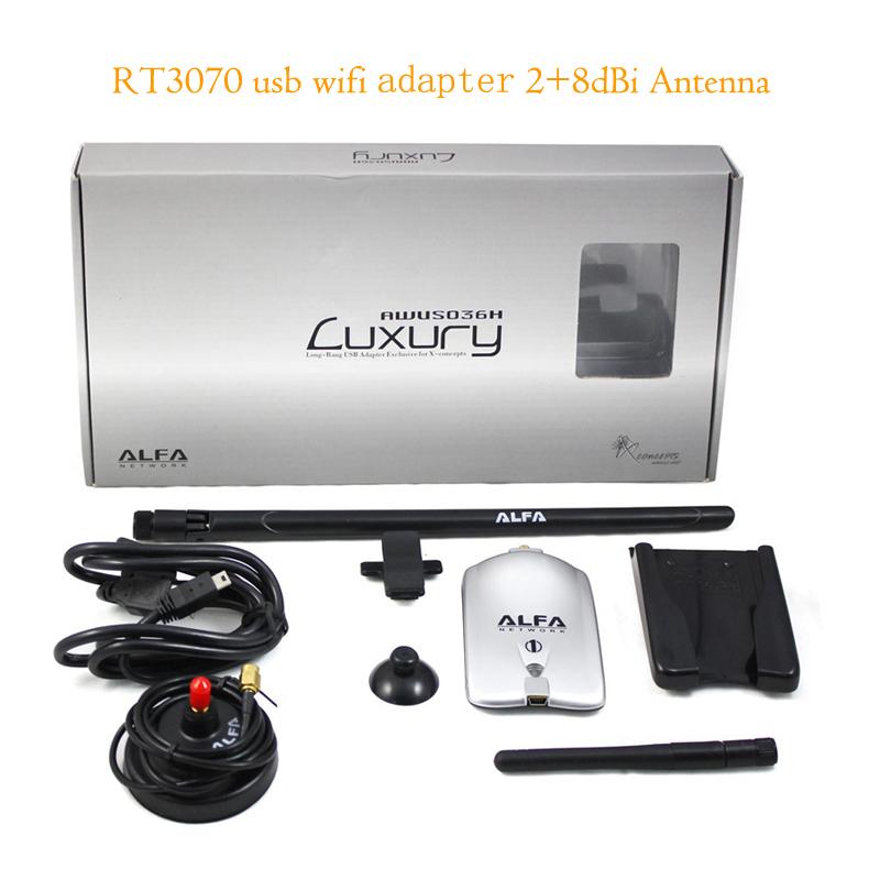 Alfa AWUS036H Wireless USB Adapter 150Mbps RT3070L High Power Alfa Luxury USB Wifi Adapter with 8dBi+2dBi Antennas(China (Mainland))