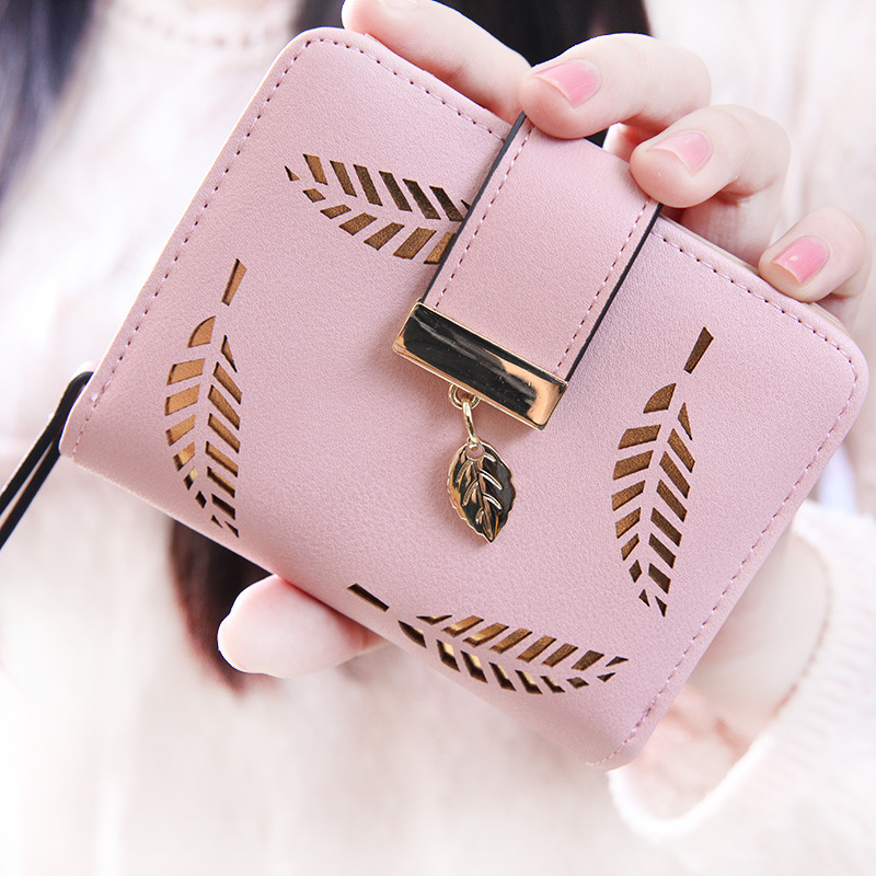 luxury designer money clip new female purse brief small change purse wallet hollow out gold leaf large wallet cuzdan cartera(China (Mainland))