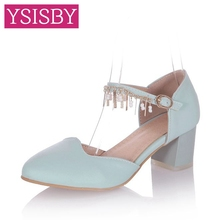 Metal chain Glitter Buckle Round toe Square heel Shoes woman Lady sandals Summer Casual Party White Pink Blue Big size 41 42 43 - YSISBY CO.,LIMITED store