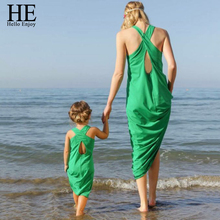Hello Enjoy mother daughter dresses New 2016 summer Sleeveless green Sandy beach Dress girl and mother dress family matching(China (Mainland))