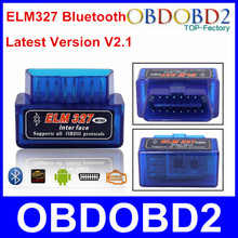 Super Mini ELM327 Bluetooth Interface V2.1 OBD2 Auto Diagnostic Tool ELM 327 Wireless Work ON Android Torque/PC Free Shipping(China (Mainland))