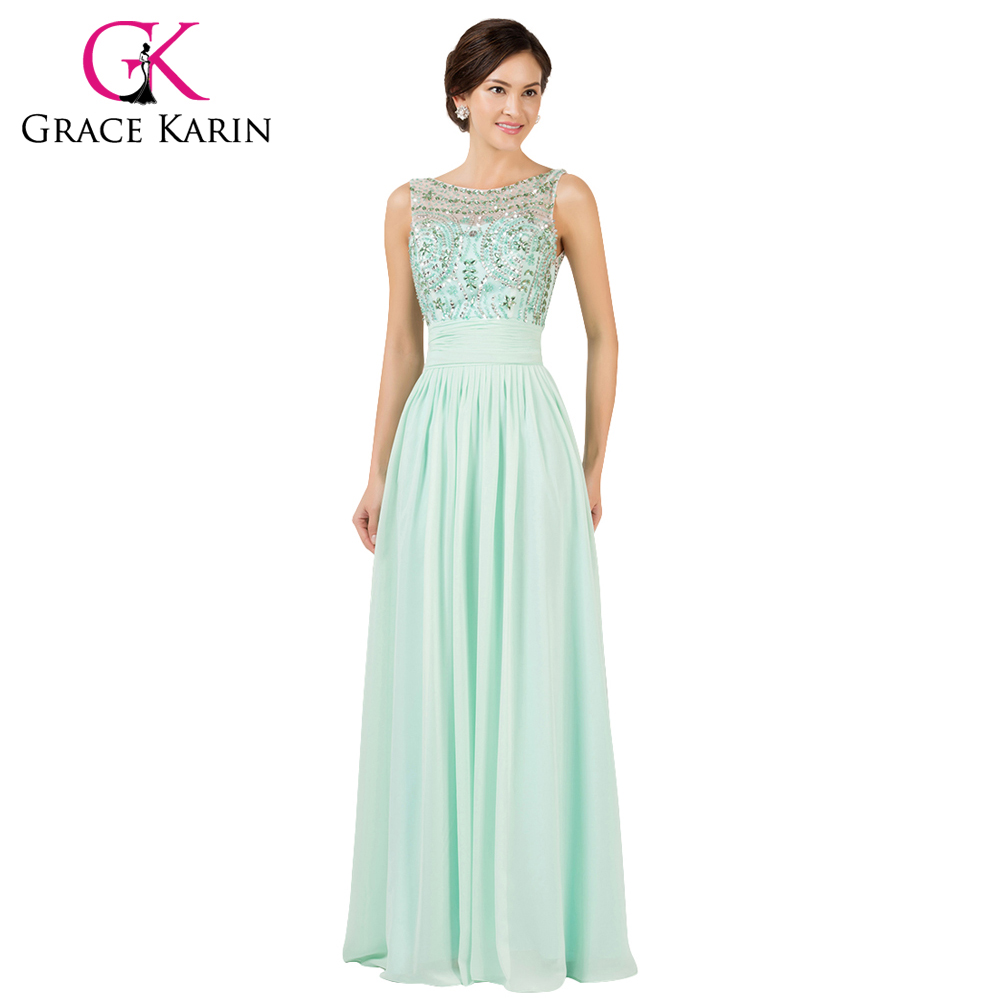 Grace Karin 2016 Mint Green Elegant Long Evening Dresses Floor Length Beading Formal Dress Backless Chiffon Gowns GK7532 - Collection store