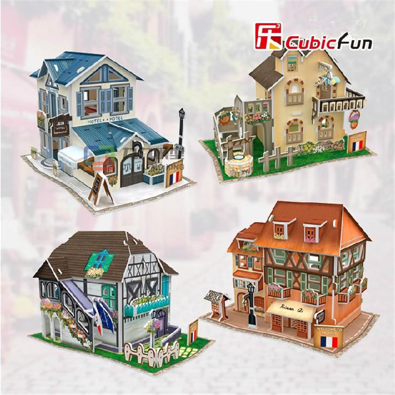 Cubic Fun DIY 3D Puzzle Jigsaw Puzzle World Styles Model Kids Toys France Flavor Puzzle 3D Model Birthday Gifts Educational Toy(China (Mainland))
