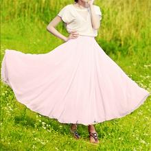 Fashion Female 8 Meters Elastic High Waist Vintage Long Skirts Women Chiffon Pleated Maxi Skirt NC218