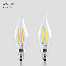 Buy C35 Filament Candle Light E14 LED Dimmable 110V / 220V 2W 4W 6W Lamp Bulb Lampada Retro Crystal Chandeliers Lighting for $15.58 in AliExpress store
