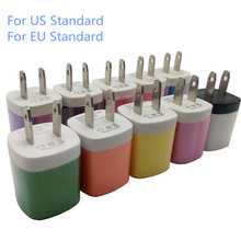 Multi Colors US/EU Standard 5V/1A Single Port USB 2.0 Wall Charger for Apple iPhone Power Adaptor for Samsung Power Charger(China (Mainland))