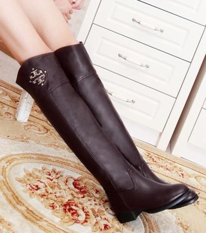 CooLcept Free Shipping Over Knee Natrual Real Genuine Leather High