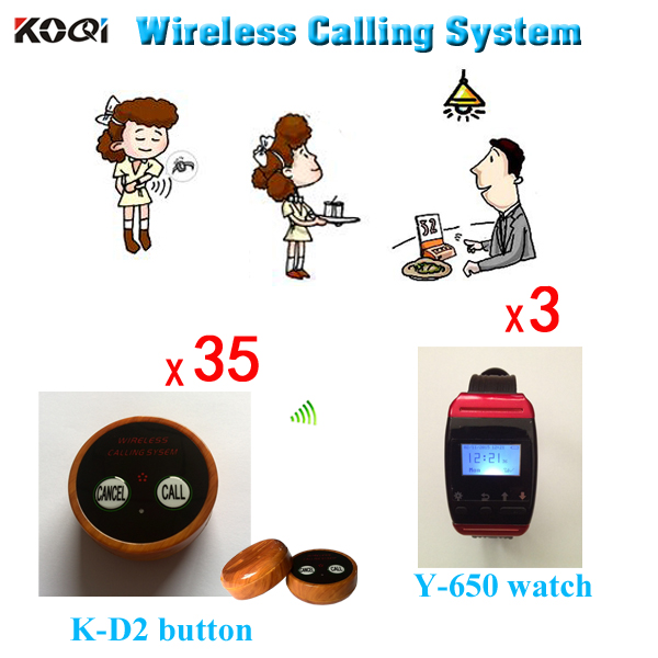 Paging System Wireless Service Call Button Pager Fast Food Restaurants ( 3pcs Watch+ 35pcs Table Button)(China (Mainland))