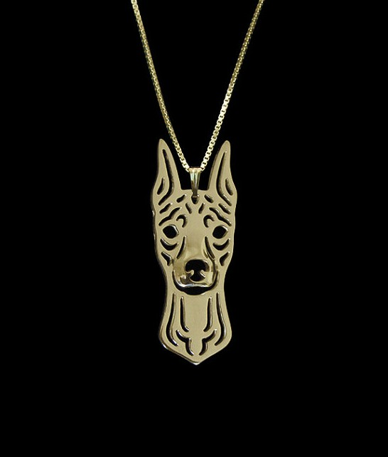 2016 NEW fashion Miniature Pinscher with cropped ears Gold pendant and necklace for pet lovers dog animal charms GN0083(China (Mainland))