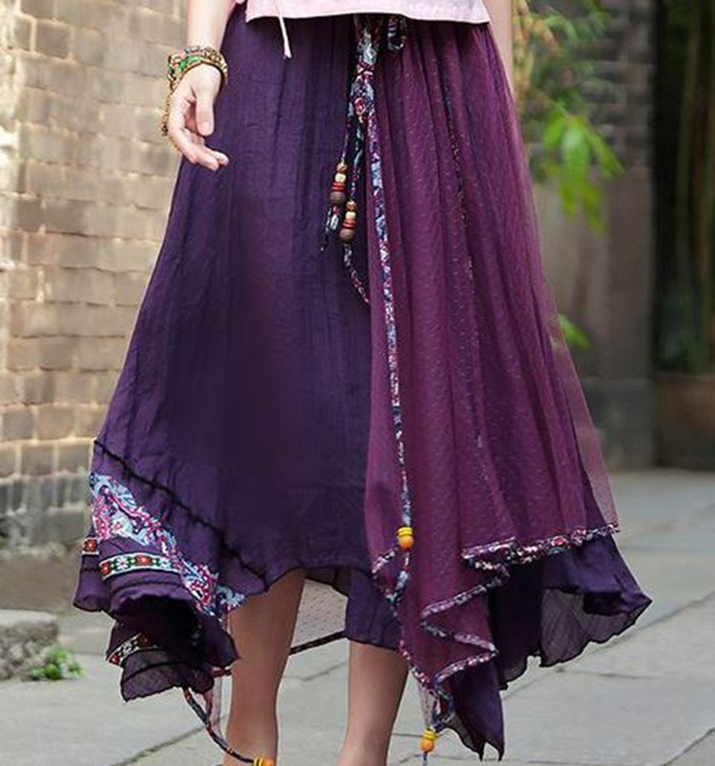 Mesh Patchwork Ankle-Length Skirt Vintage Ethnic Style 2017 Summer Fashion Sweet Women Clothing