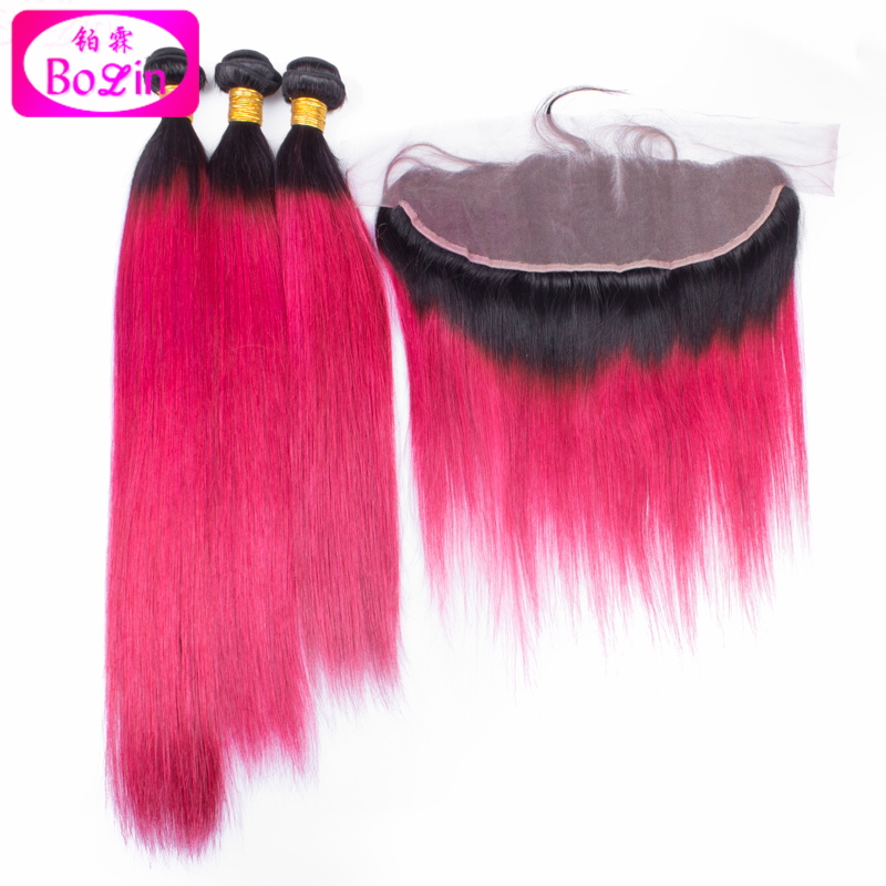 Straight red Ombre Burgundy Brazilian Hair With Closure Ear To Ear 13*4 3 Bundles Two Tone Ombre Hair With lace frontal Closure<br><br>Aliexpress
