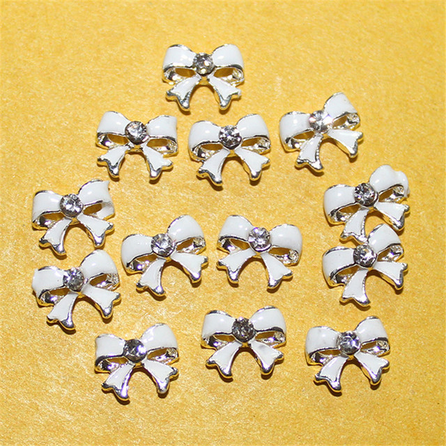 20pcs White Alloy Bow Tie Rhinestones Decoration For Nail Art DIY 3D Silver Nail Stud Beauty Tips Free Shipping