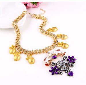 2016 New Style Full Rhinestone Skull Golden Chain and Purple Gem Long Necklace #N440(China (Mainland))