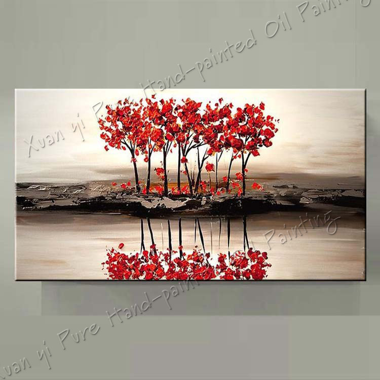 Buy Gifts Landscape Oil Painting Palette Knife Textured Oil Painting Hand Paint Modern Oil Painting Wall Art Canvas Decoration Home cheap