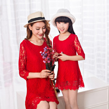 2016 mother daughter dresses family look girl and mother dress women lace dress matching mother daughter clothes