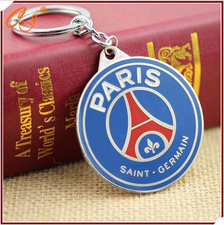 High quality paris saint germain PVC keychains psg Soccer team souvenir factory direct low price key chain(China (Mainland))