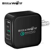 BlitzWolf 2.4A 27W US EU Certified Dual Port Fast Micro USB Charger USB Adapter Quick Charge For iPhone Power3S Tech