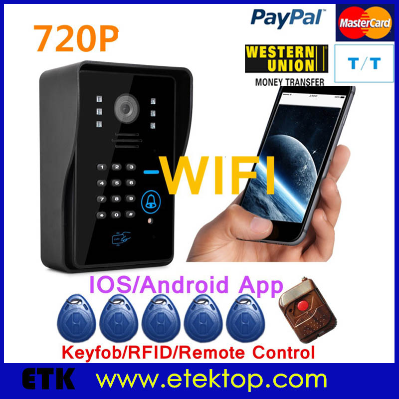WIFI IP video doorphone wireless video doorbell intercom support Android and IOS APP IR night vision(China (Mainland))