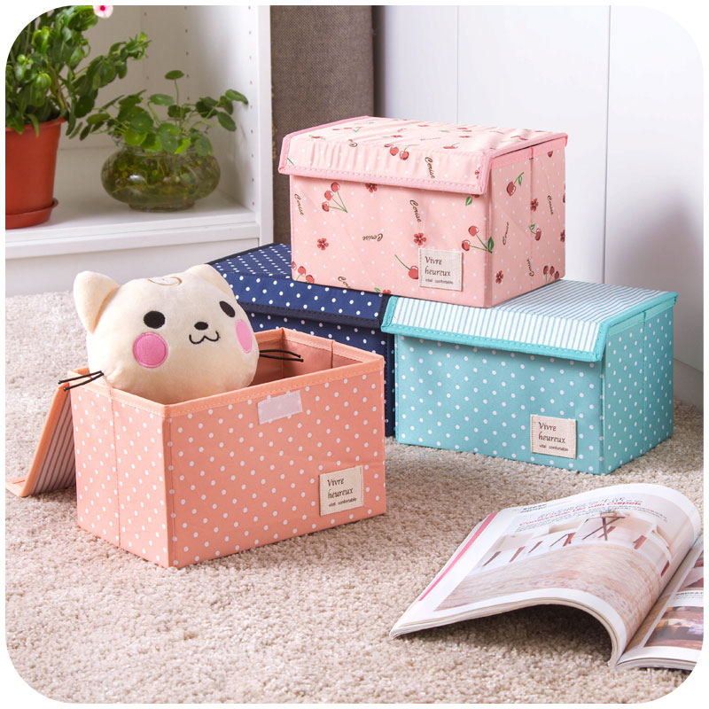 15*15*23cm Storage Box For Desk Office Organizer 4 Color Print Table Storage Boxes Foldable Home Space Saver Jewelry Sundries(China (Mainland))