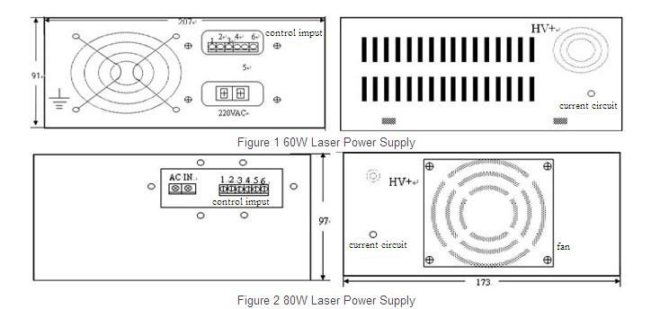 60w co2 laser power supply ac220v  110v for co2 non metal