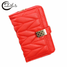 High-grade Chequer Sweet Lady Wallet W045 Short Hasp Women Purse 2016 Luxury Design Handbag High-grade Chequer Sweet Lady Wallet