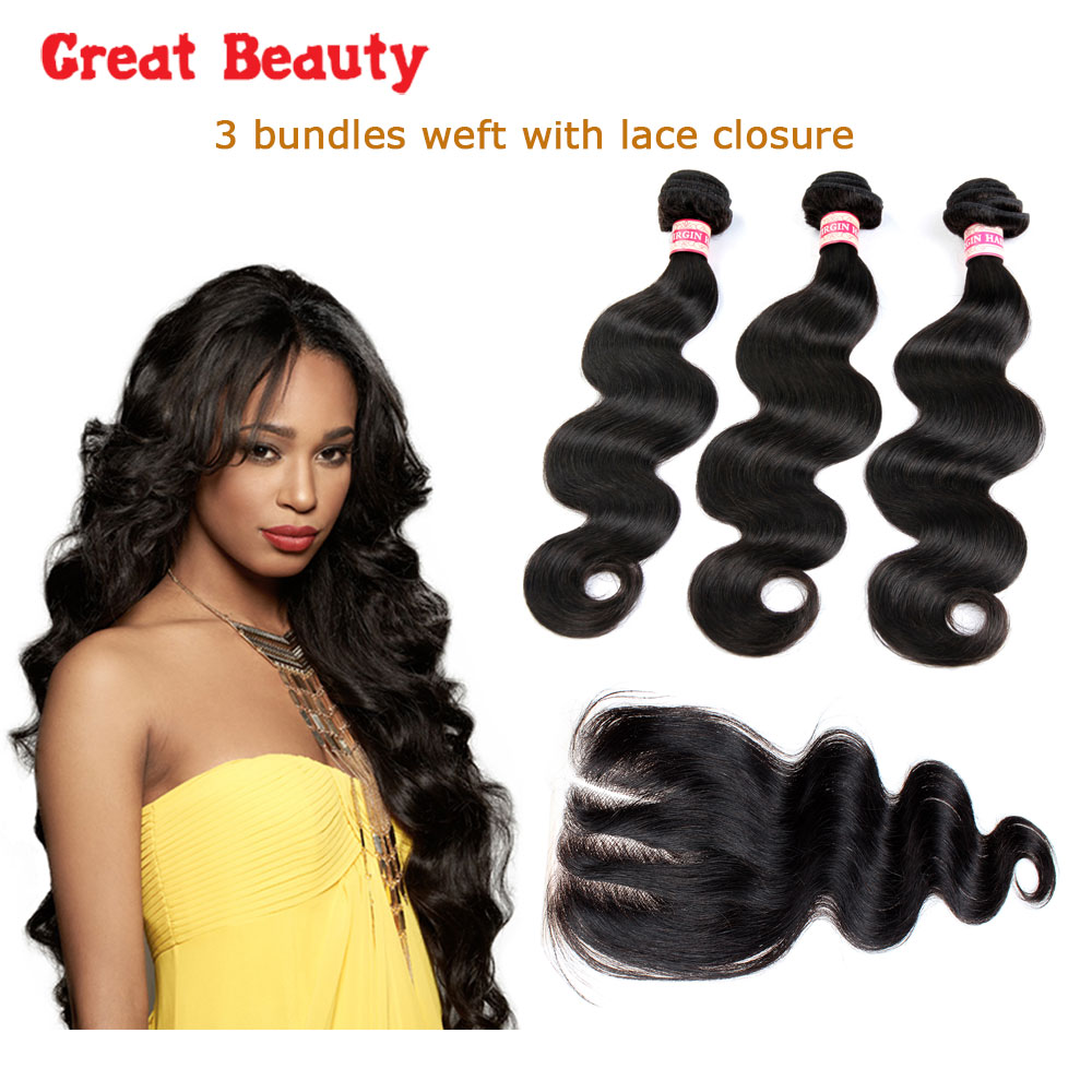 Indian Human Hair 3 Bundles Body Wave Hair With Lace Closures Human Virgin  Hair 3Bundles Extension Hair Weft 2016 New Products<br><br>Aliexpress