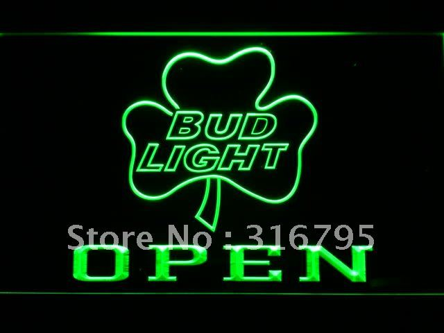 664 Bud Light Shamrock OPEN Beer Bar LED Neon Sign with On/Off Switch 7 Colors to choose(China (Mainland))