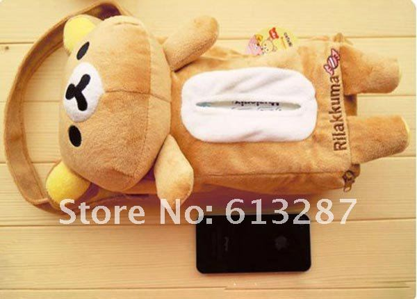 Kawaii Plush Rilakkuma Back Hanging Tissue Box Cover Car