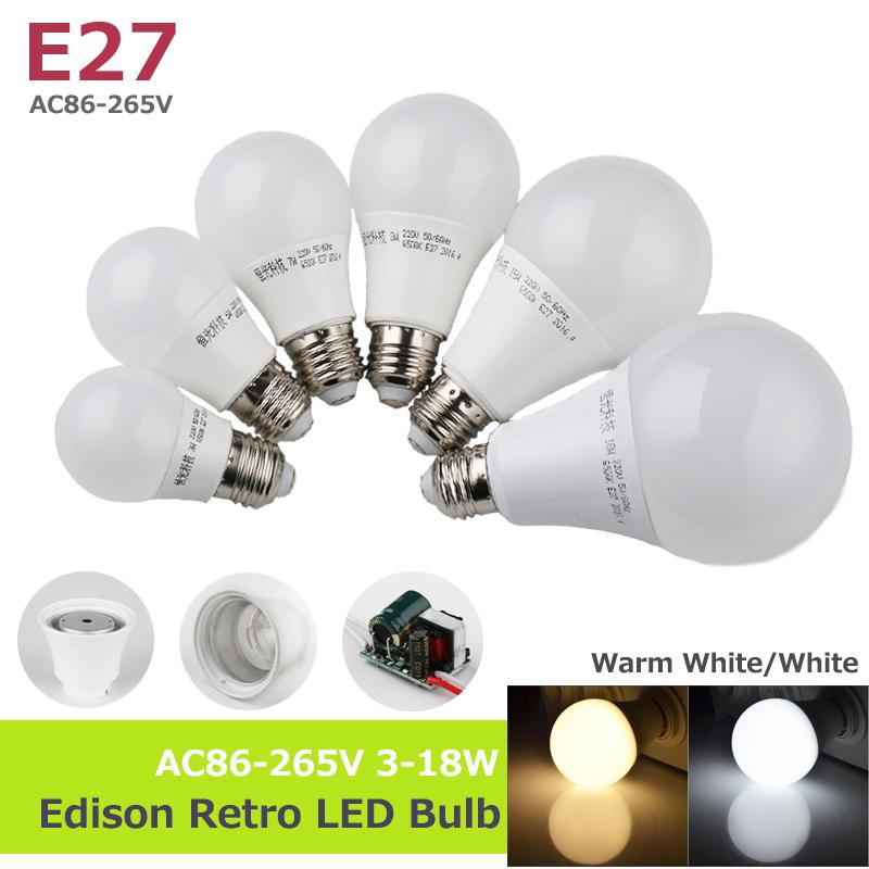 E27 85-265V 3-18W High Bright LED Bulbs lamp Aluminum Cooling SMD2835 Lampada LED Spotlights light 110/220V Cold Warm White(China (Mainland))