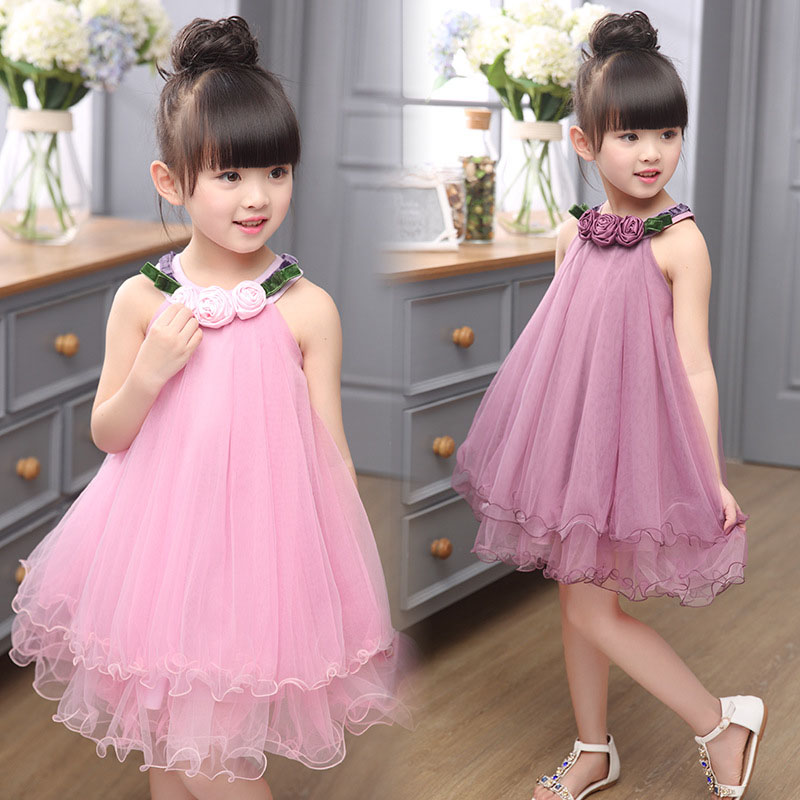 Fashion Flowers Appliques Sleeveless Girl Dresses Summer 2016 Baby Girls Princess Layered Dresses Kids Clothes Costume for 3-14T(China (Mainland))