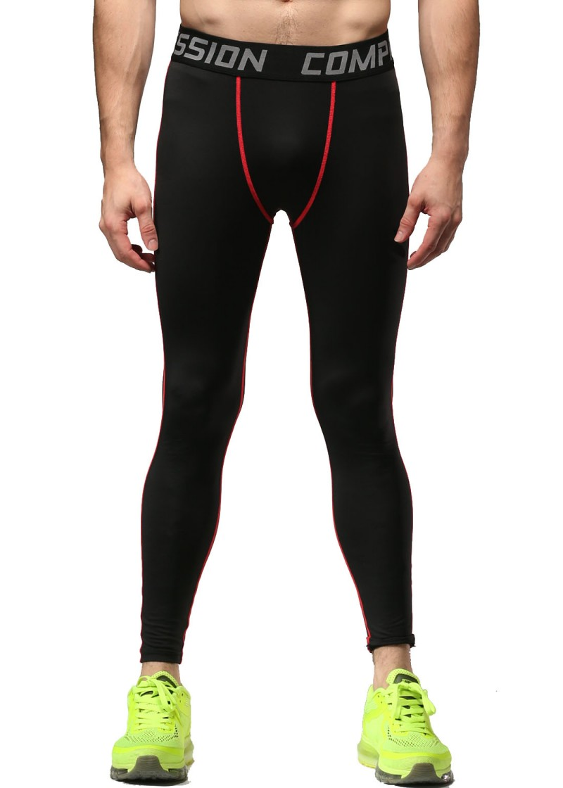 Red Plume Men Spring Summer Compression Pants ,Men's Black Color Sports Running Trousers(China (Mainland))