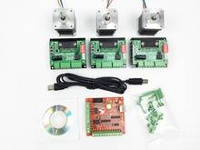 CNC mach3 USB 3 Axis Kit, 3pcs TB6560 driver+ mach3 USB stepper motor controller board+ 3pcs nema17 stepper motor
