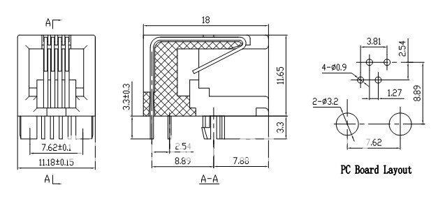 rj11 connettore femmina 4p4c side entry pcb rete modulare