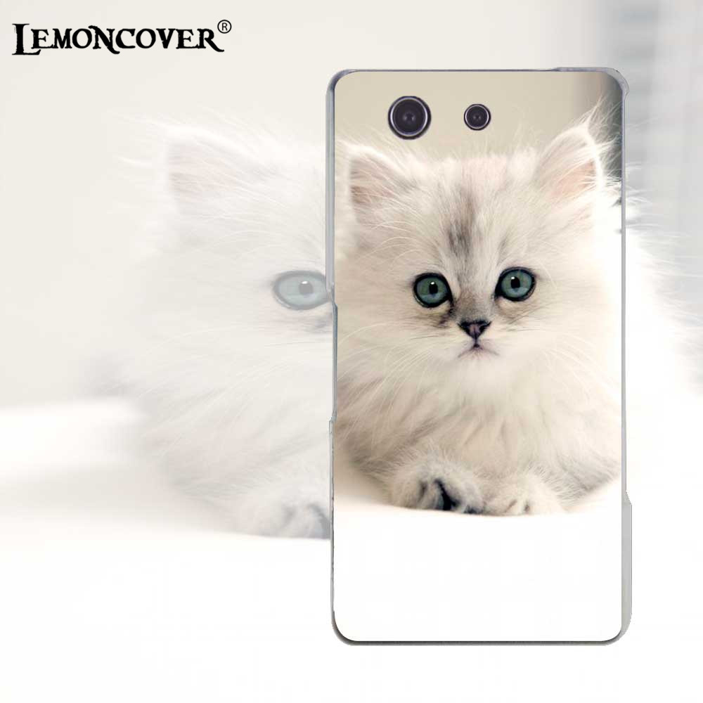 Adorable Smallest Cat Silicone Phone Cases For Sony Xperia Z3 Compact Mini Case Transparent Back Cover Cuteness Pet Hard Shell(China (Mainland))