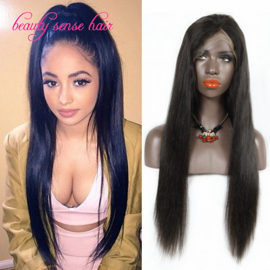 2016 Popular style Brazilian Full Lace wig with baby hair High Ponytail 8A grade Silky Straight Lace Front human hair wigs<br><br>Aliexpress