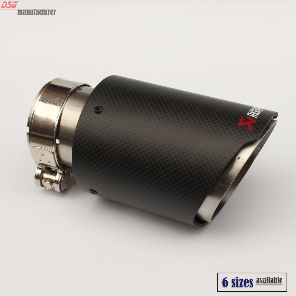 carbon fiber coated universal car exhaust tip stainless steel Akrapovic pipe exhaust matte black 63mm 101mm 54mm 89mm(China (Mainland))