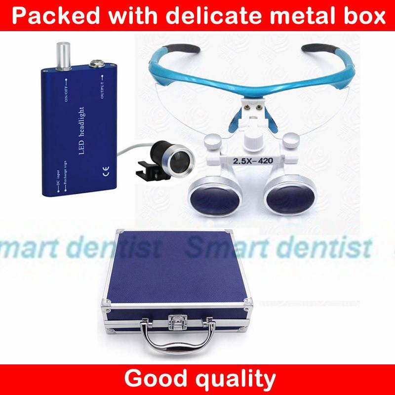 2017 Metal case 2.5X rechargeable led light magnifier surgery loupe optical dental lens