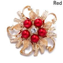HOT Sale Perhiasan Imitasi Mutiara Bros Perempuan Bros Untuk Wanita Antik Kerah Bunga Daun Broches Pins(China)