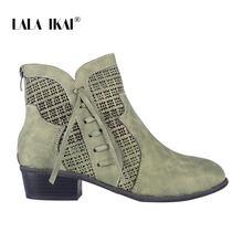 Lala Ikai Nữ Thu Đông Cổ Chân Giày Buộc Dây Rỗng Giày Chống Nước Da PU Nữ Dây Kéo Tua Rua Giày Chelsea Boot WC4747-4(China)