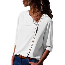 Blusa de gasa de 2018 de moda de manga larga de las mujeres Blusas y Tops Skew sólido Collar camisa de la Oficina Casual Tops Blusas camisa de mujer(China)