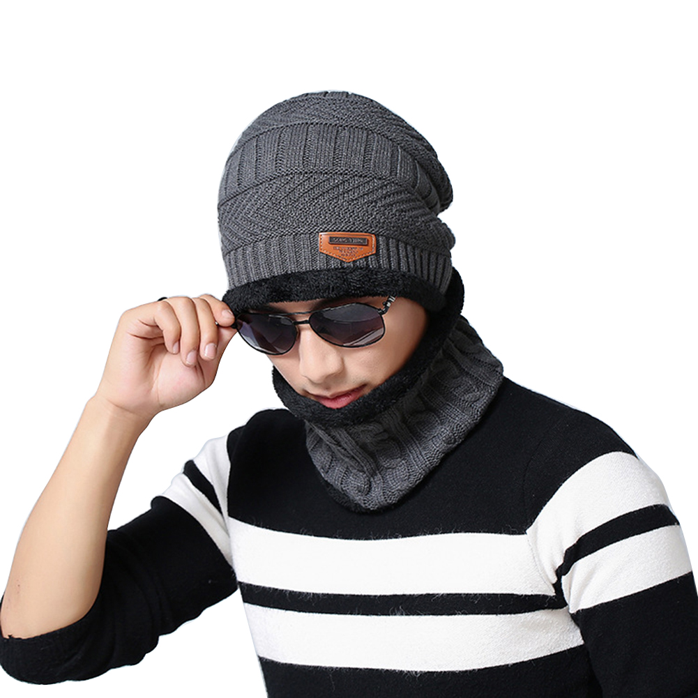 Warm Skiing Outdoor Sports Winter Knitting Wool Beanie Hat and Circle Scarf