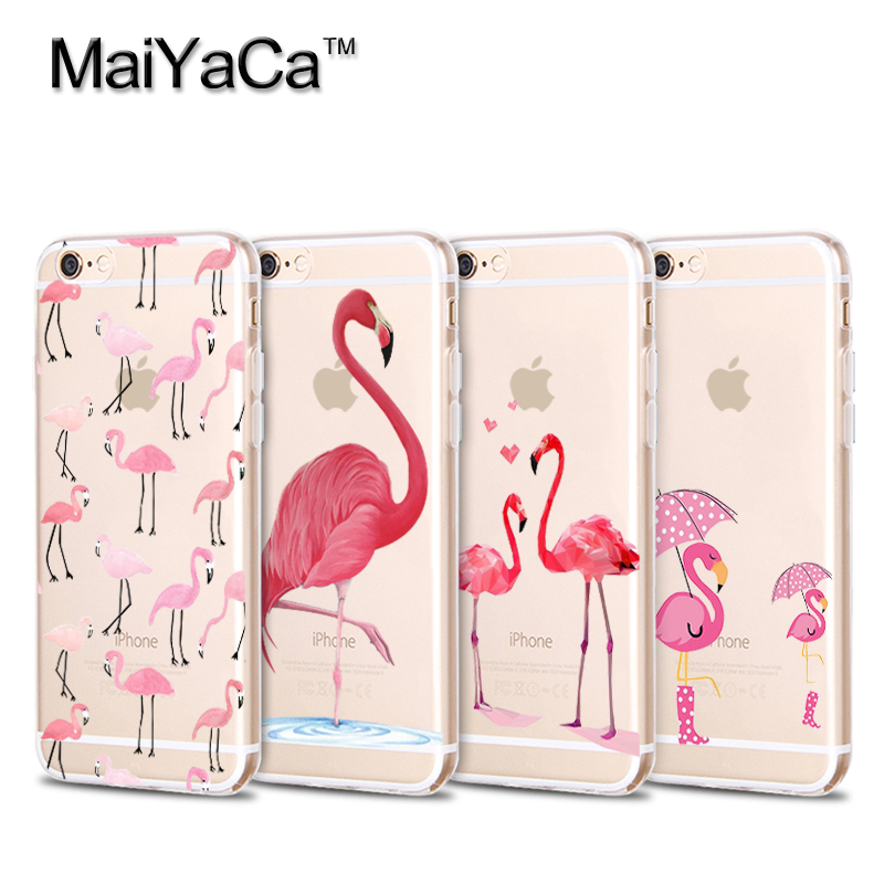 Flamingo Cute Animals Birds Transparent Soft TPU Silicone Phone For iPhone 5s 6s 7 plus case(China (Mainland))