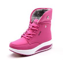 PINSEN Phụ Nữ Khởi Động Với Lông Mùa Đông Khởi Động Mắt Cá Chân Nêm Phụ Nữ Giày Dép Ấm Khởi Động Tuyết Thời Trang Chất Lượng Cao Lông Giày Femal giày dép(China)