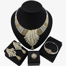 TSROUND Dubai Schmuck-Set für Frauen Normalen Zirkon Kristall Schmuck Nigerian Braut Halskette Ohrring Set(China)
